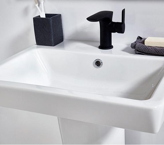 Aqua Edition Vibe Black Basin Mixer Tap With Click Clack Waste
