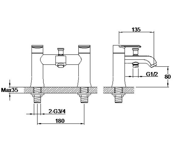 Additional image of Aqua Edition Basque Bath Shower Mixer Tap