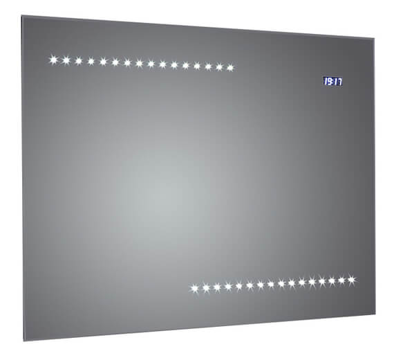 Frontline Quay 800mm Bevel-Edge LED Mirror With Clock And Demister Pad