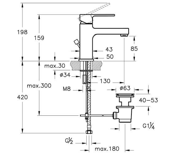 Technical drawing QS-V59754 / A40775VUK