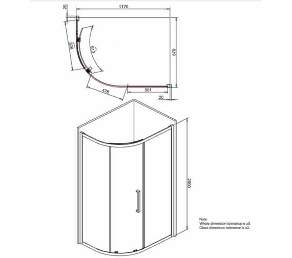 Additional image of Crosswater Infinity Single Door Offset Quadrant Enclosure 1000 x 800mm
