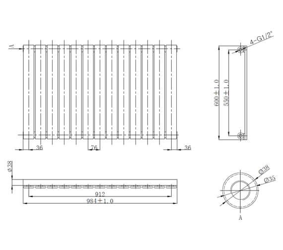Additional image of Frontline Bellisi 600mm High Single Panel Designer Radiator