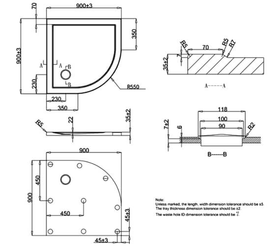 Additional image of Simpsons Quadrant Low Profile 35mm Shower Tray