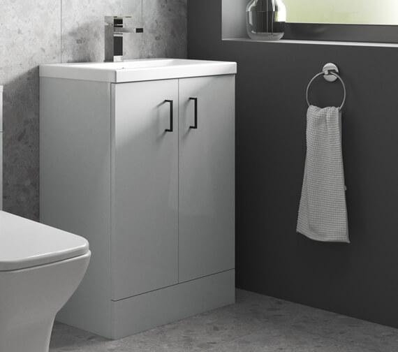 Nuie Arno 800mm High Floor Standing Two Doors Vanity Unit And Basin