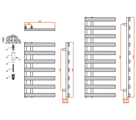 Technical drawing QS-V95299 / RND-GRC078W