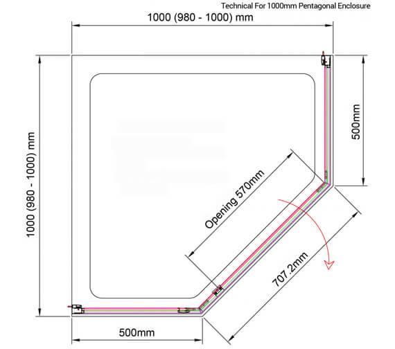 Additional image of Aquaglass Purity 6mm Pentagonal Enclosure