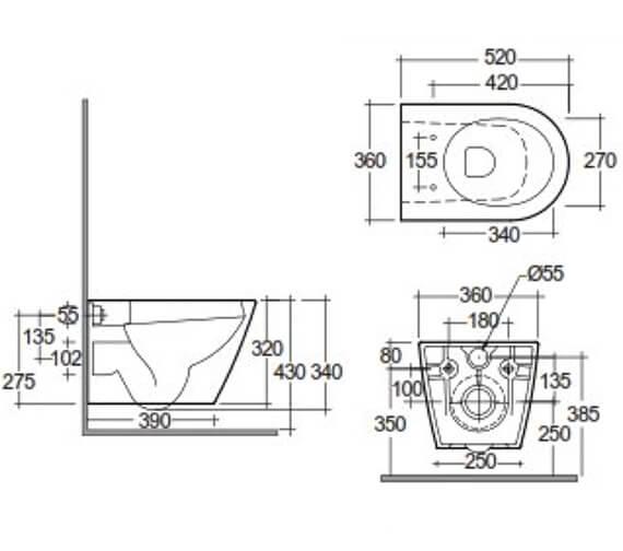 Technical drawing QS-V103345 / FEEWHPAN500-SC