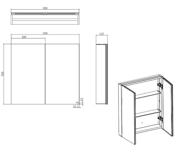 Additional image of RAK Gemini Aluminium Mirrored Bathroom Cabinet