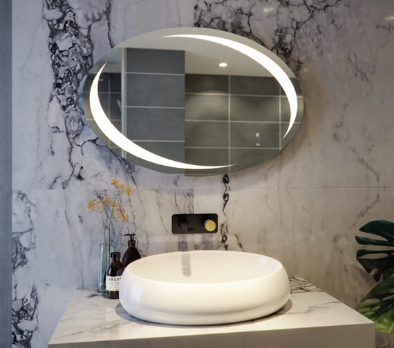 RAK Hades 900 x 600mm LED Illuminated Oval Mirror With Demister And Touch Sensor Switch