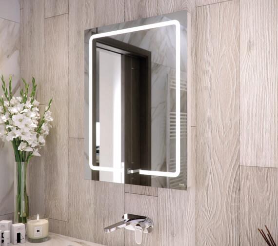 RAK Pegasus 600 x 800mm LED Illuminated Portrait Mirror With Touch Sensor Switch