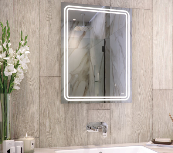 RAK Pluto 600 x 800mm LED Illuminated Portrait Mirror With Touch Sensor Switch
