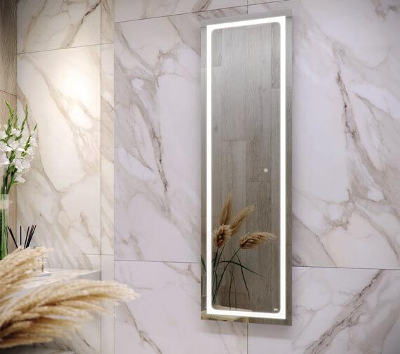 RAK Aquarius 420 x 1400mm LED Illuminated Tall Dress Mirror With Demister And Touch Sensor Switch