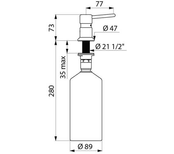 Additional image of Delabie Deck Mounted Straight Spout Liquid Soap Dispenser