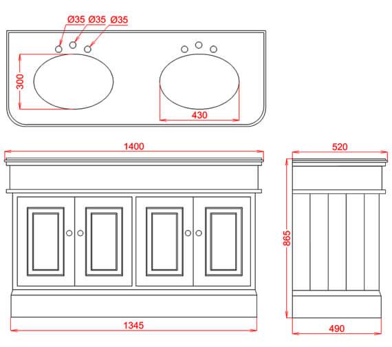 Technical drawing QS-V98144 / VICCAB1400WT3THGREBL