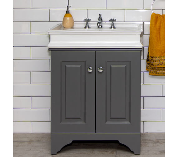 Silverdale Victorian 670mm Dark Grey Unit With Sit On Basin