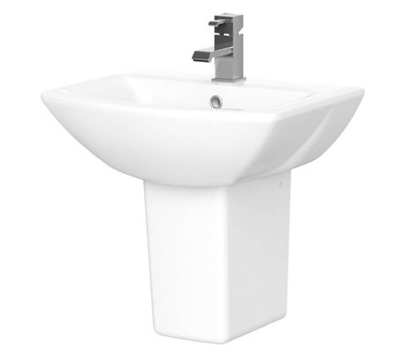 Nuie Asselby 500mm 1 Tap Hole Basin And Semi Pedestal