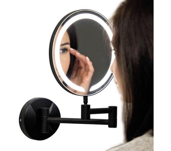 Harrison Bathrooms Black Round Make Up Mirror
