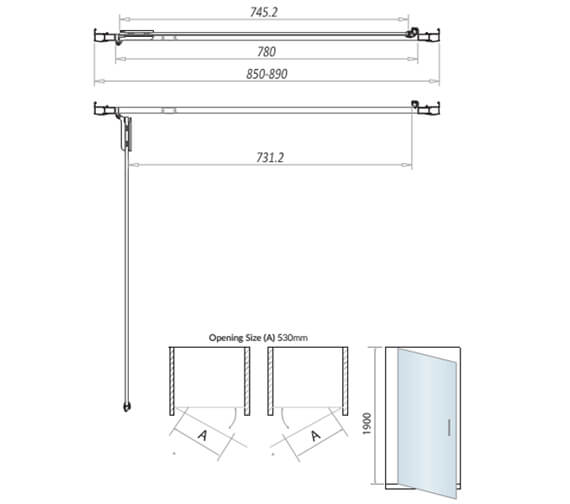 Technical drawing QS-V102800 / A8SHOWER19