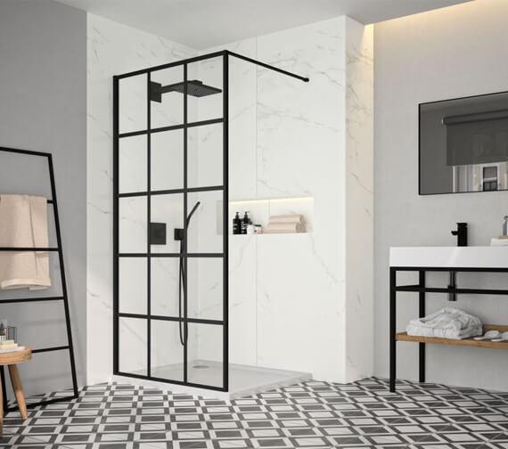 Merlyn Black Squared Showerwall Wetroom Panel - BLKFSWCTL90