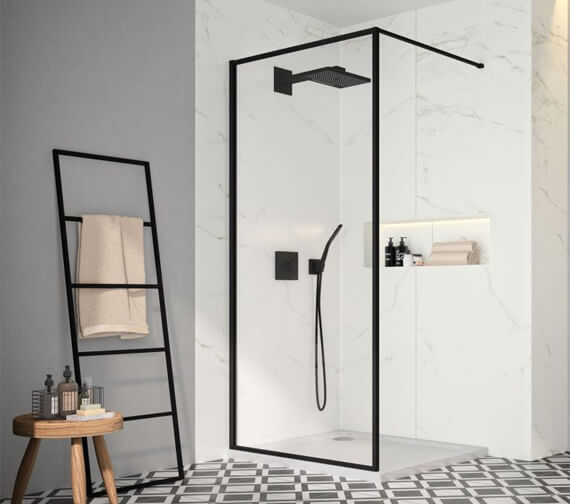 Merlyn Black Framed Showerwall Wetroom Panel