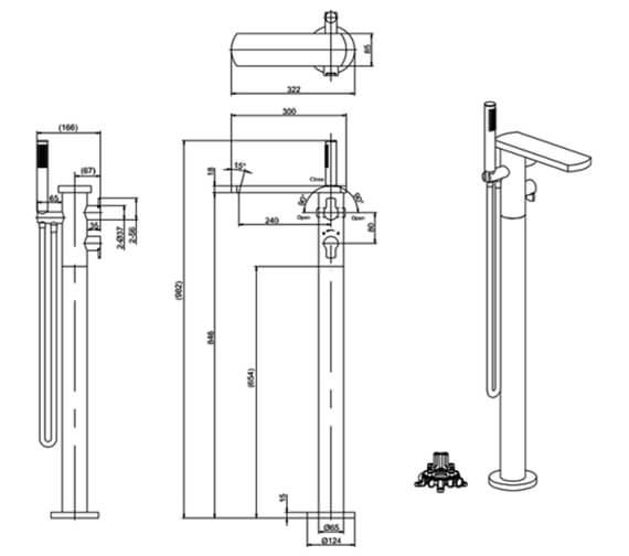 Technical drawing QS-V82094 / WP418TFC