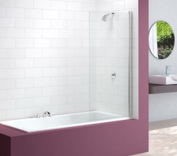 Merlyn MB2T 6mm Single Panel Hinged Square Bath Screen With Towel Rail 800 x 1500mm