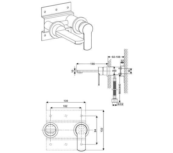 Technical drawing QS-V21900 / WP120WNC