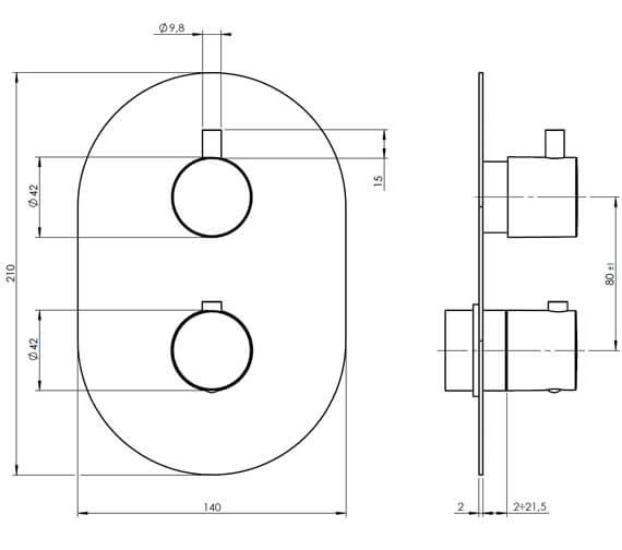 Technical drawing QS-V88061 / KAHA 2D