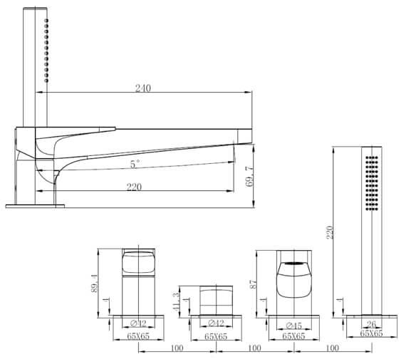 Technical drawing QS-V103414 / RAKISH3013C