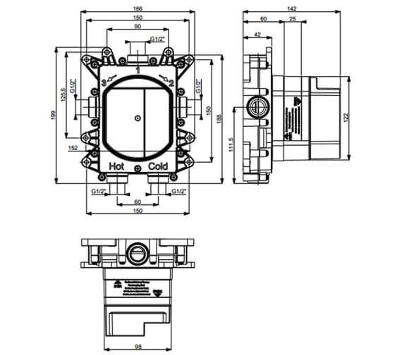 Technical drawing QS-V95691 / PROCB1000LBPC+