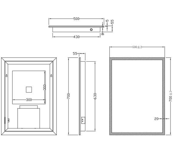 Technical drawing QS-V11201 / MIRROR001