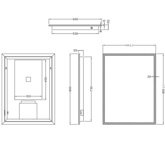 Additional image of Harrison Bathrooms Mosca LED Mirror With Demister Pad And Shaver Socket