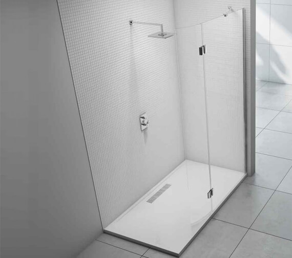 Merlyn 8 Series Showerwall With Curved Hinged Swivel Panel