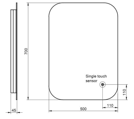 Technical drawing QS-V11203 / LEDMIRROR007