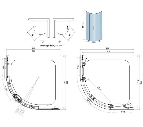 Technical drawing QS-V102790 / A6SHOWER001