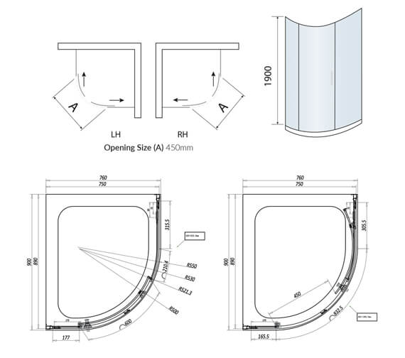 Technical drawing QS-V102742 / A8SHOWER09