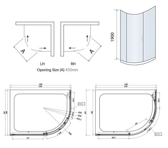 Alternate image of Harrison Bathrooms A8 1900mm Height Single Door Offset Quadrant