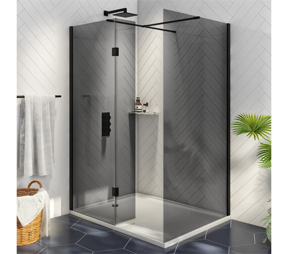 Harrison Bathrooms A8 Noire Wetroom Glass With Return Panels