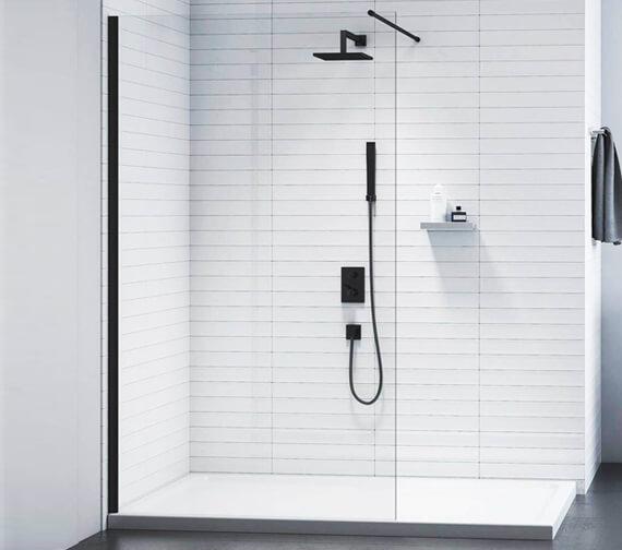 Merlyn Black Frameless Showerwall Wetroom Panel - 2015mm Height
