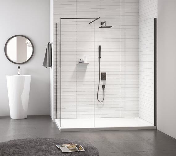 Additional image of Merlyn Black Frameless Showerwall Wetroom Panel - 2015mm Height
