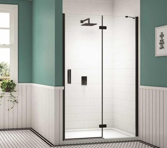 Merlyn Black Hinge Shower Door And Inline Panel