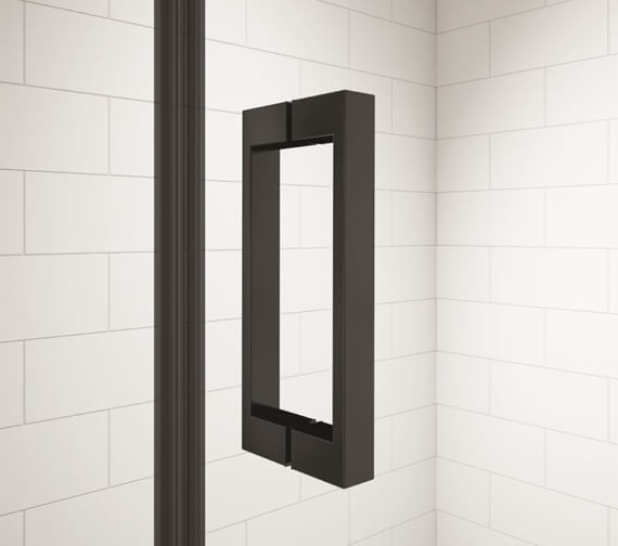 Additional image of Merlyn Black Hinge Shower Door And Inline Panel