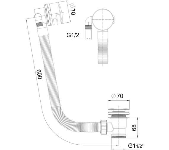 Technical drawing QS-V11215 / BATHFILL02