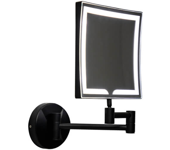 Harrison Bathrooms Black Square 200mm Led Make Up Mirror