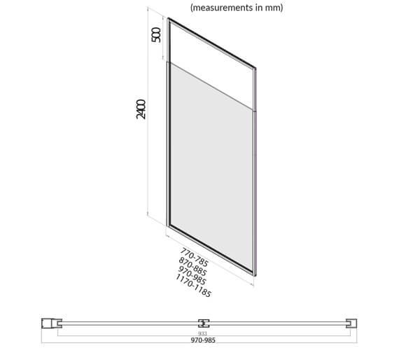 Additional image of Harrison Bathrooms Noire Black Frame Telescopic Wetroom Glass Panels