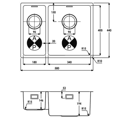 Additional image of Abode Matrix R15 1.5 Stainless Steel Kitchen Sink Bowl