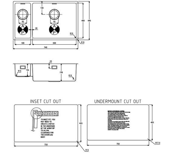 Additional image of Abode Matrix R15 Stainless Steel 1.5 Kitchen Sink Bowl
