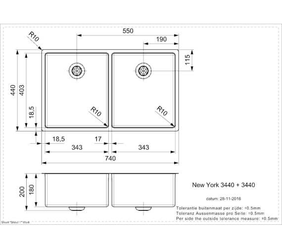 Technical drawing QS-V103450 / NEW YORK 34X40+34X40