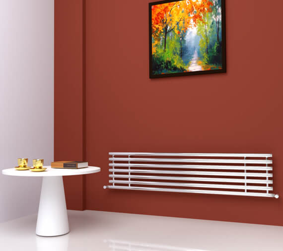 SBH Horizontal Tubes Polished Stainless Steel Radiator 380mm x 1600mm