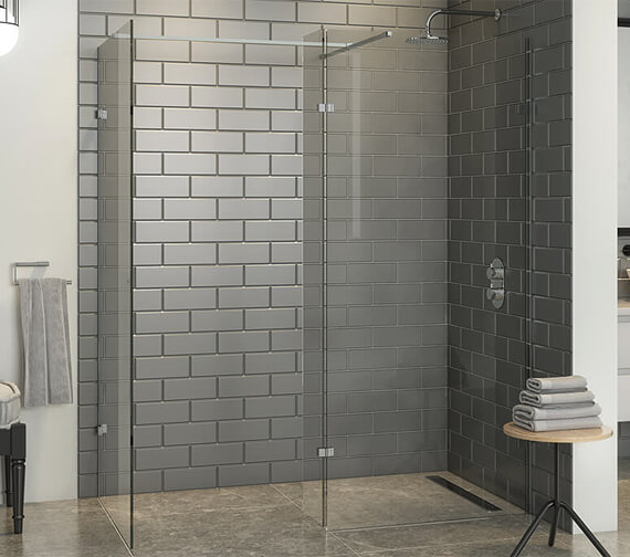 Harrison Bathrooms A10 Frameless Wetroom Panel With Deflector Panel And Minimal Wall Channel